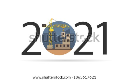 Happy new year 2021. Year 2021 with Building, house construction icon