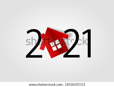 happy new year 2021. Year 2021 with house icon