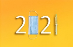 happy new year 2021. Year 2021 with Medical protective Surgical masks and Vaccine
