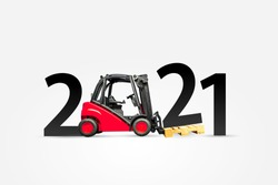 Happy new year 2021. Year 2021 with red forklift