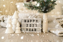Happy New Years 2021. Christmas background with fir tree and Christmas decorations. Christmas holiday celebration. New Year concept.