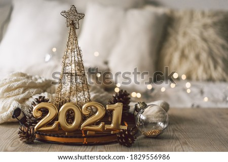 Happy New Years 2021. Christmas background with fir tree, cones and Christmas decorations. Christmas holiday celebration. New Year concept.