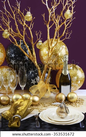 Happy New Years Eve Elegant Dinner Table Setting With ...