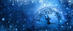 Happy New Years 2021. Winter Celebration With Dial Clock On Snow And Light
