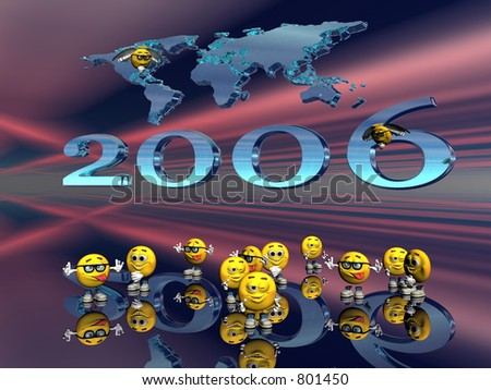 Happy New years wishes from the emoticon guys with a world map and light show  in the background, 3D illustration.
