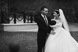 Happy newlywed couple, valentines, hugging and posing in an old european park b&w