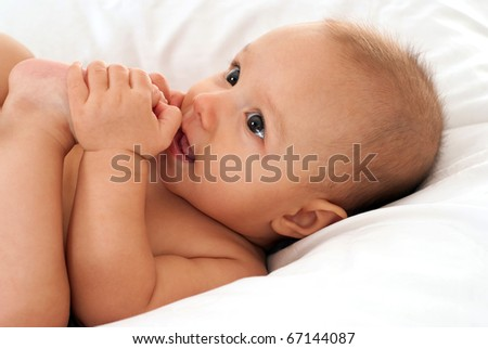 happy nice baby on a white background