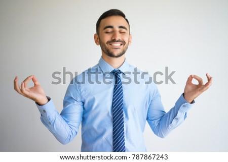 Happy Office Worker with Zen Gesture