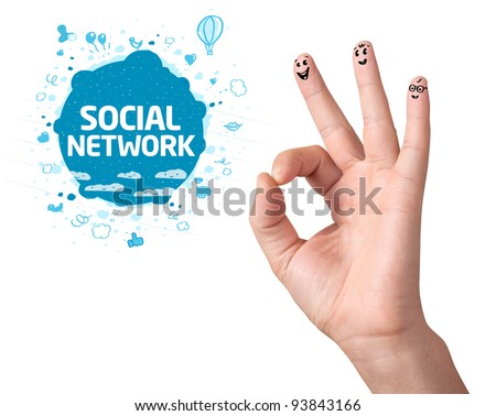 Happy ok fingers with social network sign and icons isolated on white - stock photo