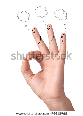 Happy ok fingers with speech bubbles and signs isolated on white