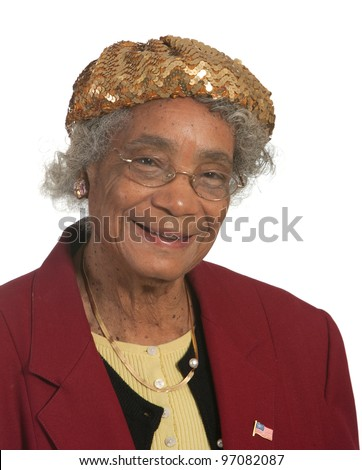 Happy Old Lady. Shot against White Background