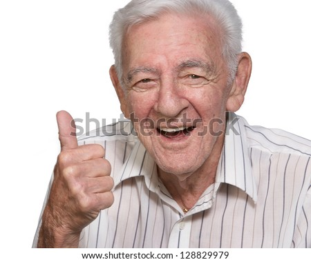 Happy old man senior thumbs up isolated on white background