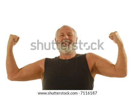 Happy older man flexing during his fitness routine; isolated on white