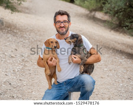 Happy owner man with two old sweet Dachshund Dogs having fun in the park. In animal lovers, companionship and dog adoption.