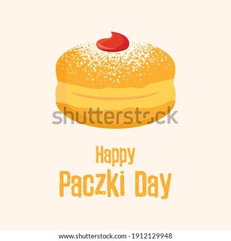 Happy Paczki Day illustration. Traditional polish donut with jam and icing sugar icon. Round jelly doughnut with powdered sugar illustration. Important day Zdjęcia stock ©
