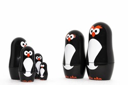 Happy penguin toy figure parent with adorable kids.