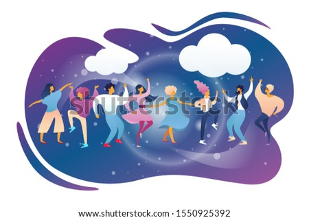 Happy People Clubbing and Dancing Disco at Night Club Stage DJ Music Party. Men and Women Characters Dance at Nightclub, Nightlife Event on Scene under Disco Lights. Cartoon Flat Illustration