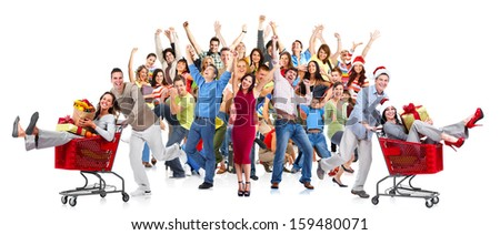 Happy people crowd. Christmas shopping sale background.
