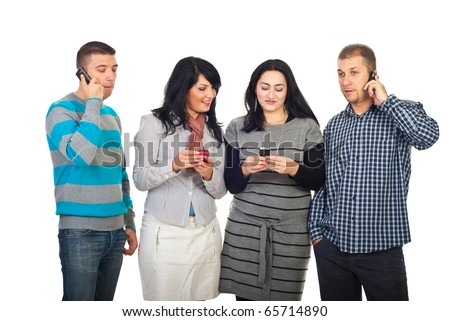 Happy people in a line calling by phone mobiles or sending text messages isolated on white background