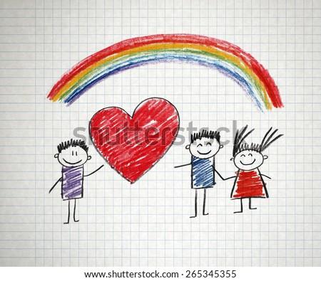 Happy people (kids drawing)