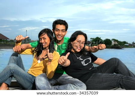 happy people outdoor - stock photo