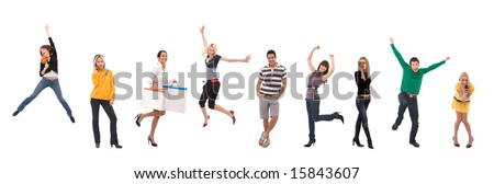 happy people portraits on white background