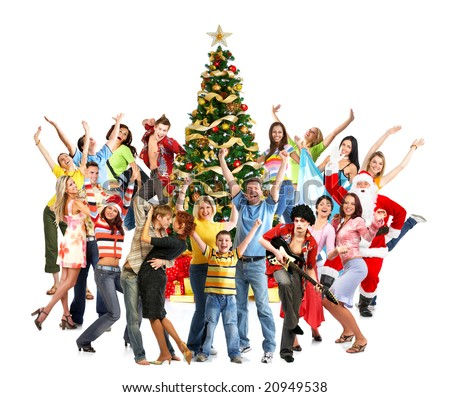 Happy People, Santa and Christmas tree. Over white background