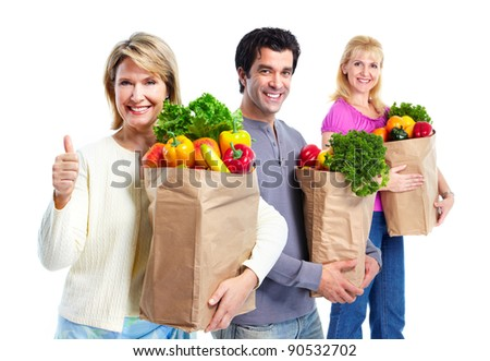 Happy people with a grocery shopping bag. Isolated on white background.
