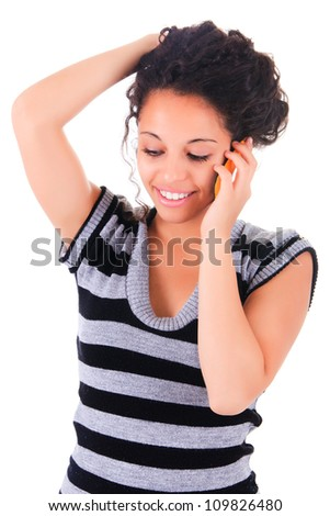 happy phone woman black african - stock photo
