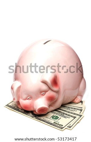 Happy piggy bank sleeping on dollars - stock photo