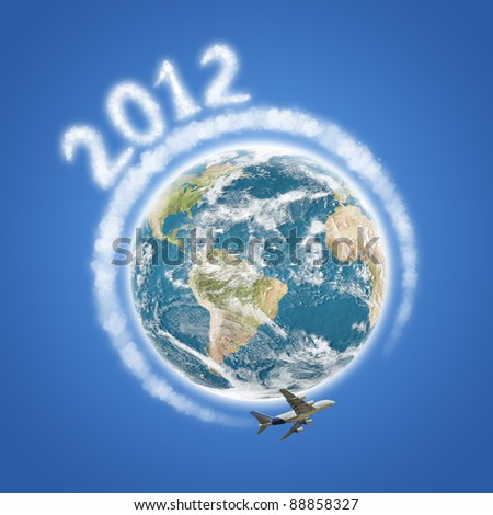 Happy 2012 plane and clouds concept
