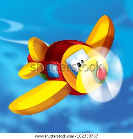 Happy plane in the sky