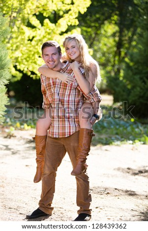 happy playful young couple