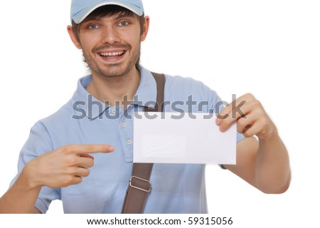 happy postman showing mail on white background