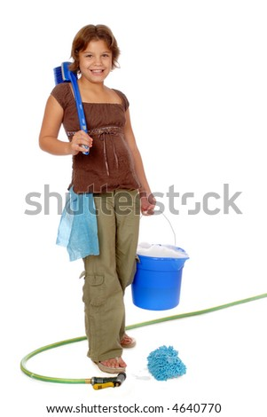 Happy preadolescent girl toting a bucket of sudsy water and other cleaning supplies.  Isolated on white.