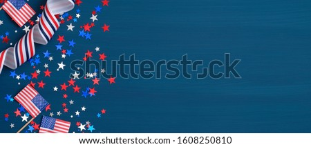 Happy Presidents Day banner with grosgrain ribbon, American flags and confetti stars on blue background. USA Independence Day, American Labor day, Memorial Day, US election concept.