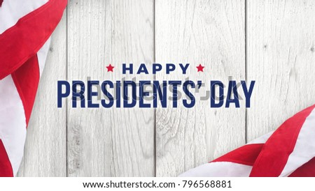 Happy Presidents' Day Typography Over Distressed White Wood Background with American Flag Border