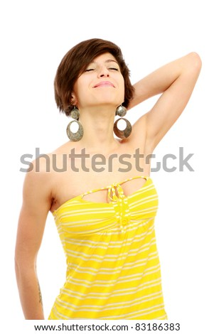 Happy pretty girl looking up isolated on white background - stock photo