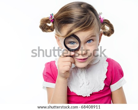 happy pretty girl with magnifying glass on white background