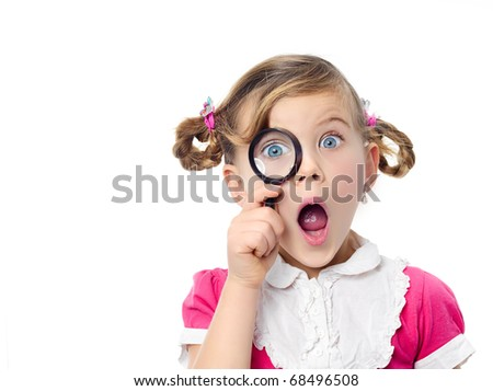 happy pretty girl with magnifying glass on white background - stock photo