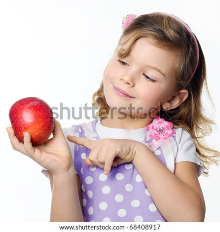 happy pretty girl with red apple on white background