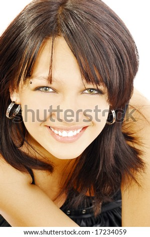 Happy pretty smiling brunette, isolated on white