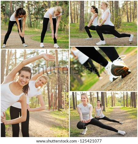 Happy pretty women with smiles doing stretches