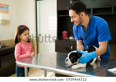 Happy professional vet doing a medical exam on a boston terrier while talking to a little girl at the animal clinic. Cute girl waiting at the vet to take her puppy home