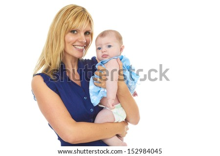 Happy proud young mother with baby girl isolated on white background
