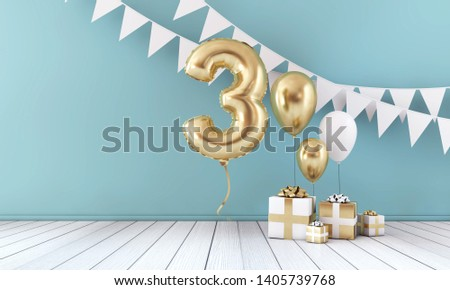 Happy 3rd birthday party celebration balloon, bunting and gift box. 3D Render