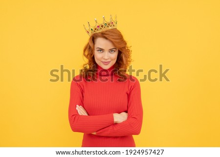 happy redhead woman in crown. self confident queen. expressing smug. arrogant princess in tiara. proud woman smiling. egoistic girl wear diadem. arrogance and selfishness. portrait of glory. Stock fotó ©