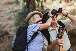 Happy retired couple enjoying nature in the Californian forest