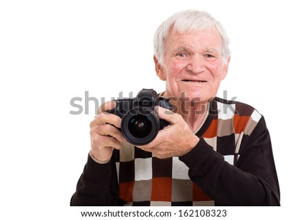 happy retired elderly photographer with camera isolated on white #162108323