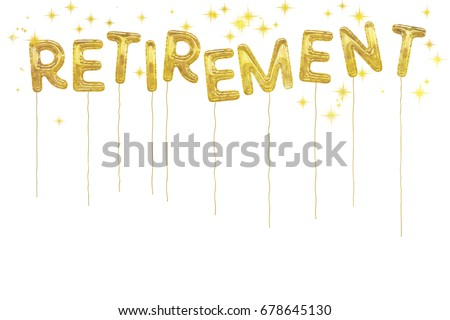 Happy retirement! Gold foil style balloons and stars on white. Fun design.Pension age at last!